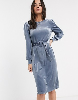 Vila cord rib midi dress-Blue
