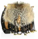 Prada Corsaire Fox Fur & Leather Messenger Bag