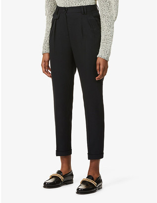 Sessun Waffled tapered mid-rise woven trousers