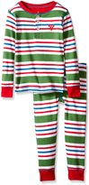 Hatley Little Boys' Henley Pajama Set Holiday Stripes