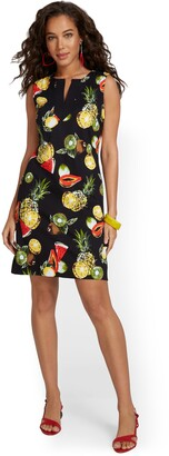 New York & Co. Pineapple Fruit-Print Cotton Shift Dress
