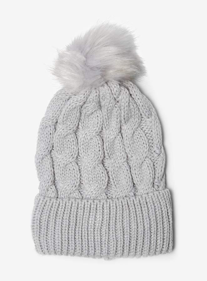 b805b33fc Womens Grey Cable Knit Pom Hat