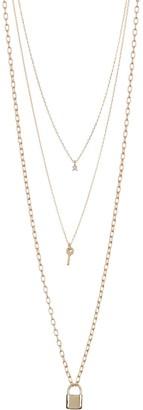 Area Stars Lock & Key Layered Necklace Set