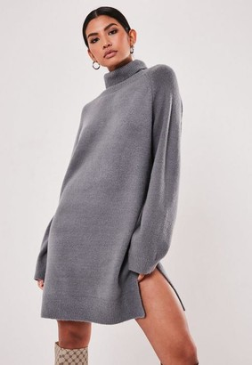 Missguided Gray High Neck Side Split Sweater