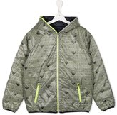 Armani Junior logo print padded jacket