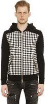 Balmain Checkered Print Zip-Up Biker Sweatshirt