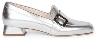 Roger Vivier Mini Metallic Leather Loafers