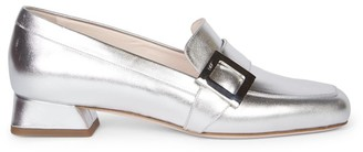 Roger Vivier Mini Metallic Leather Loafers