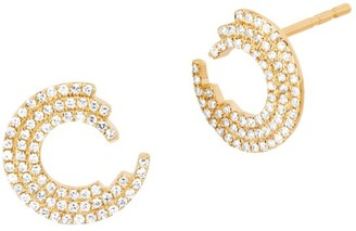 Ef Collection 14K Yellow Gold & Diamond Willow Stud Earrings