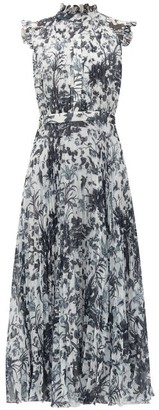 Erdem Roisin Frida Toile De Jouy-print Voile Dress - Womens - Blue White