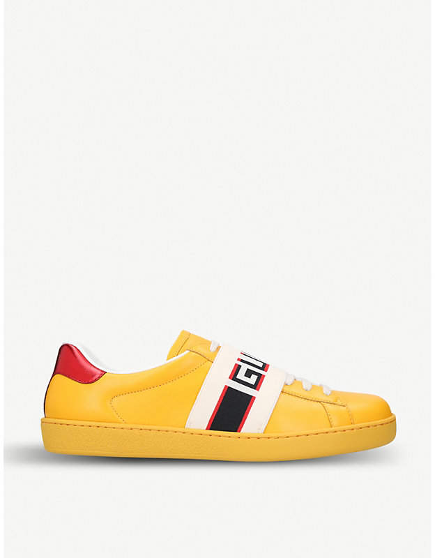 Gucci New Ace stripe leather trainers
