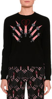 Valentino Love Blade Intarsia Crewneck Sweater, Black