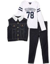 Dark Blue 'Varsity' Tee Vest & Pants - Infant Toddler & Girls