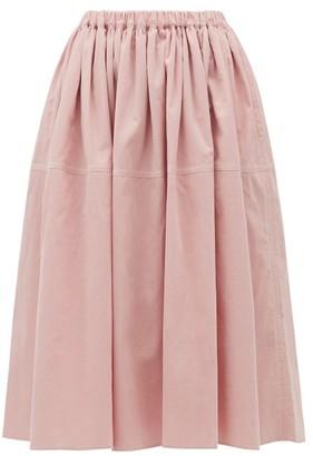 Sara Lanzi Gathered Cotton-corduroy Skirt - Womens - Light Pink