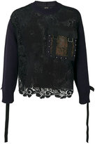 No.21 lace long-sleeve sweater - men - Cotton/Polyester - S