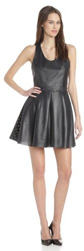 Rebecca Minkoff Women's Liv Perforated Leather Sleeveless Fit and Flare Dress