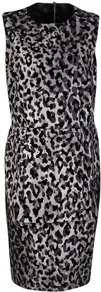 Dolce & Gabbana Monchrome Flock Animal Print Layered Sleeveless Dress L