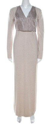 Brunello Cucinelli Beige and Grey Sequined Vest Overlay Cashmere Maxi Dress S
