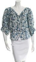 Stella McCartney Floral Print Three-Quarter Sleeve Top