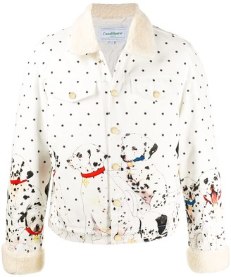 Casablanca polka dot and Dalmation print faux fur-trimmed jacket