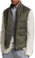 Brunello Cucinelli Quilted Down Vest w/Zip-Out Sleeves, Hunter