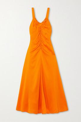 REJINA PYO Toni Ruched Silk-cloque Midi Dress - Orange