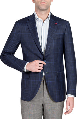 Isaia Men's Plaid Wool Two-Button Jacket