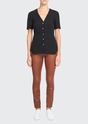 Theory V-Neck Button-Front Silk Vest Shirt