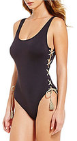 Vince Camuto Lace-Up Solid U-Neck One-Piece