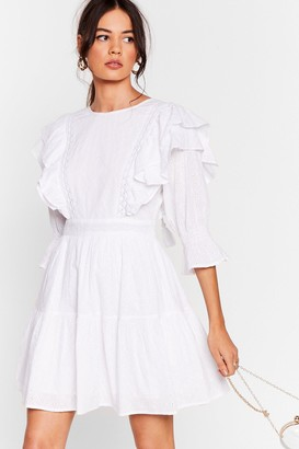 Nasty Gal Womens I'm Frill Standing Broderie Anglaise Mini Dress - White - XL