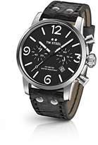 TW Steel Men's 'Maverick' Quartz Stainless Steel and Leather Dress Watch, Color:Black (Model: MS64)