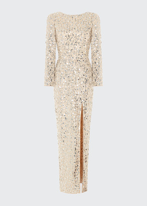 Rasario Sequined Slit-Front Open-Back Column Gown