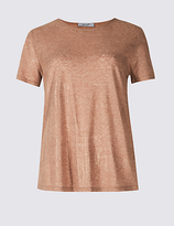Per Una Cotton Blend Metallic Open Back T-Shirt