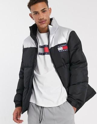 Tommy Jeans metallic capsule puffer jacket in black/metallic