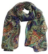 Datework Women Chiffon Printed Silk Long Soft Scarf Shawl (Navy)