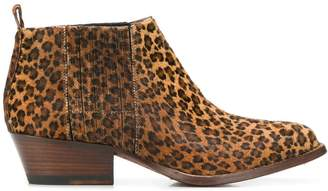 Buttero leopard heeled ankle boots