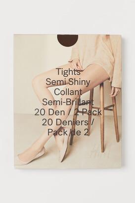 H&M 2-pack 20 Denier Tights - Brown