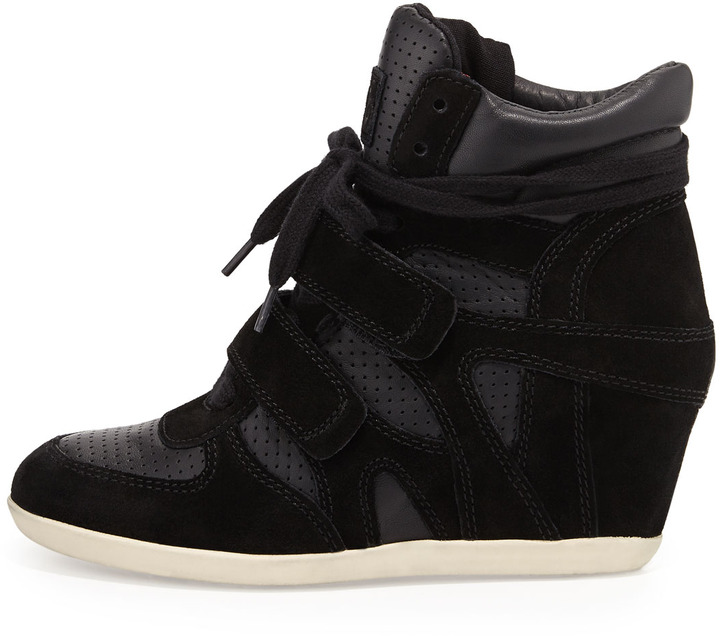 Ash Bea Lace-Up Wedge Sneaker, Black