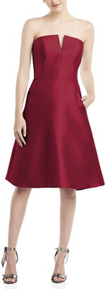 Alfred Sung Strapless Satin Twill Cocktail Dress