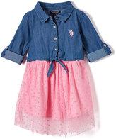 U.S. Polo Assn. Denim Blue & Light Pink Dot Mesh Dress - Girls
