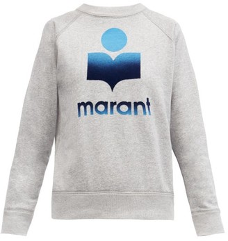 Etoile Isabel Marant Milly Flocked-logo Cotton-blend Sweatshirt - Grey
