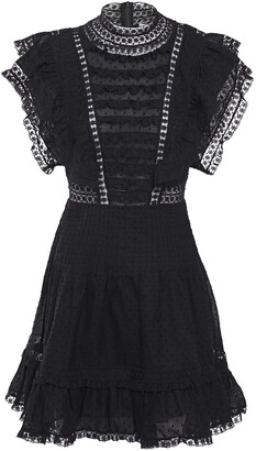 Zimmermann Lace-trimmed Ruffled Embroidered Cotton-gauze Mini Dress