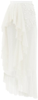 Rodarte Ruffled Floral-applique Swiss-dot Tulle Skirt - White