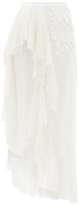 Rodarte Ruffled Floral-applique Swiss-dot Tulle Skirt - Womens - White