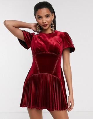 ASOS DESIGN bonded velvet trim pleated mini dress