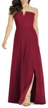 Dessy Collection Full length strapless lux chiffon dress