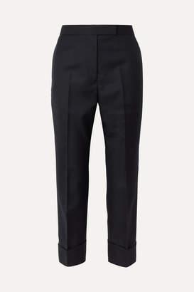 Thom Browne Cropped Wool-blend Twill Straight-leg Pants - Navy