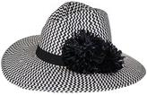 Black and White Chevron Fedora with Rafia Pom Poms