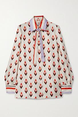 Valentino Pussy-bow Printed Silk-satin Twill Shirt - Ivory