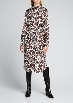 Adam Lippes Printed Dolman Sleeve Silk Dress